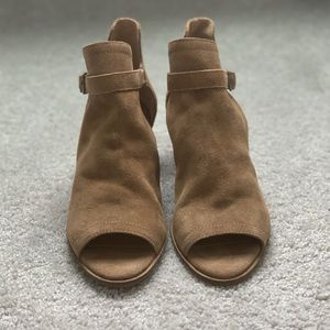 Brown open toe booties by Lucky Brand